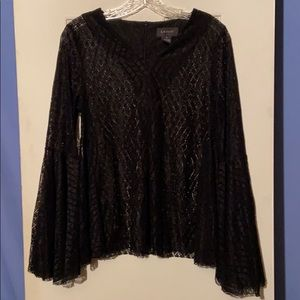 (S) Black Lacey Layering Blouse